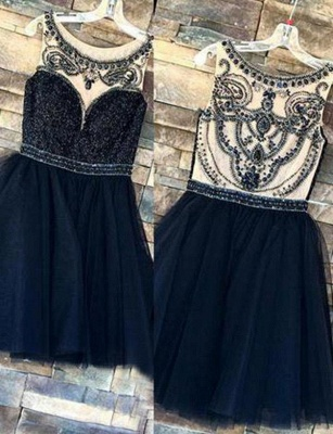 Trendy Beads Sleeveless Jewel Tulle A-Line Short Prom Homecoming Dress UK_1