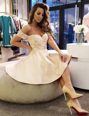 Sexy A-Line Lace Off-the-Shoulder Sleeveless Short Prom Homecoming Dress UK_1