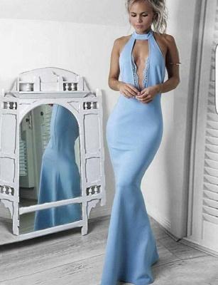 Fabulous Lace High Neck trumpt Long Sleeveless Prom Dress UK UK_1