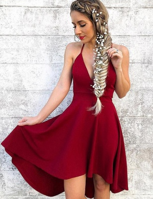 Stunning A-Line Halter V-Neck Hi-lo Prom Dress UK UK_1