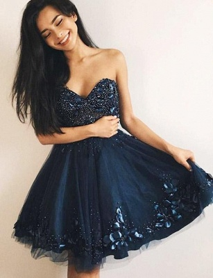 Glamourous Tulle A-Line Beads Cute Sweetheart Mini length Homecoming Dress UK_1