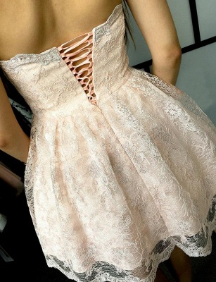 New Arrival Appliques A-Line Lace Cute Sweetheart Lace-up Homecoming Dress UK_3