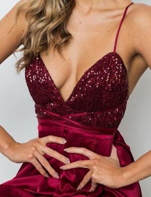 Elegant A-Line Spaghetti Straps V-Neck Sequins Burgundy Prom Dress UK UK_5