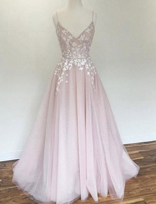 Charming A-Line Appliques Spaghetti Straps Long Prom Dress UK UK_1