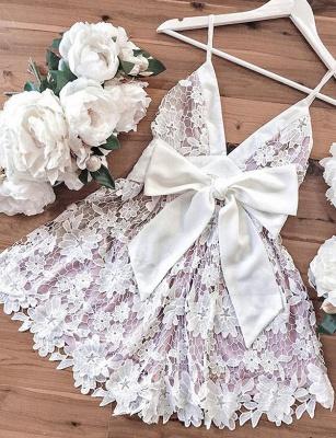 Homecoming Modern Lace Spaghetti Straps Bowknot Mini A-Line Prom Dress UK UK_4
