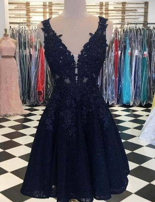 Stunning Sleeveless A-Line Appliques V-Neck Mini length Prom Dress UK UK_1