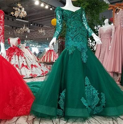 Mermaid Beads Chapel Train Long Sleeves Tulle Applique Prom Dress UK UK_1
