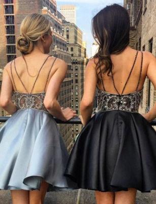 Charming A-Line Beading Spaghetti Straps Lace Short length Prom Dress UK UK_3