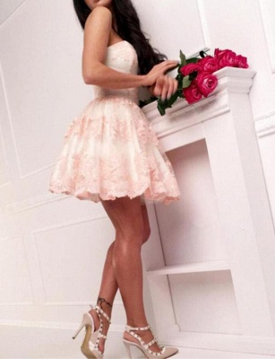 Sexy Appliques A-Line Lace Cute Sweetheart Mini length Homecoming Dress UK_5