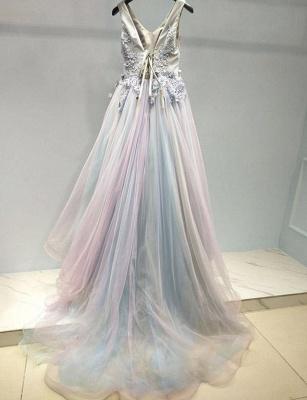 Amazing A-Line Appliques Spaghetti Straps Tulle Long Prom Dress UK UK_3