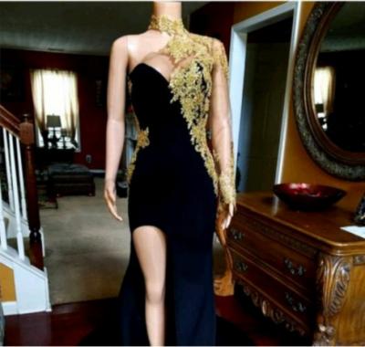 Black Mermaid Front-slit Appliqued Long Sleeve Prom Dress UKes UK_3