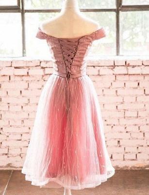 Trendy Short Sleeves A-Line Off-the-Shoulder Tea-Length Homecoming Dress UK_3