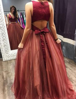 Crop Top A-Line Bowknot V-Neck Tulle Long Prom Dress UK UK_3