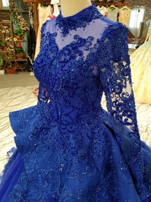 Long Sleeves Ball Gown Applique Tulle Beads Court Train Prom Dress UK UK_6