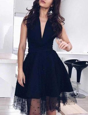 Glamourous A-Line Beads V-Neck Tulle Sleeveless Mini length Prom Dress UK UK_3