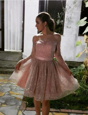 New Arrival Long Sleeves A-Line Strapless Off-the-Shoulder Short Prom Homecoming Dress UK_1