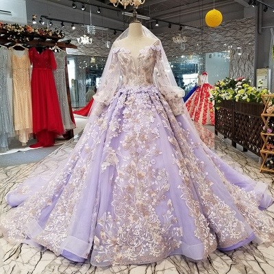 Ball Gown Spaghetti Straps Long Sleeves Court Train Applique Prom Dress UK UK_1