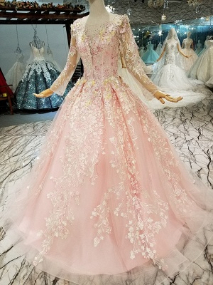 Organza Round Neck Long Sleeves Applique A-Line Court Train Prom Dress UK UK_4