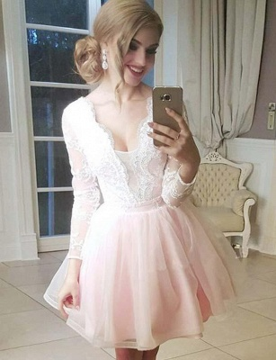 Trendy Tulle A-Line Lace V-Neck Long Sleeves Mini length Prom Dress UK UK_1
