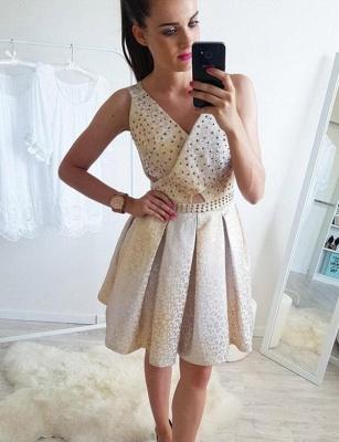 Stunning Sleeveless A-Line Beads V-Neck Short Prom Dress UK UK_1