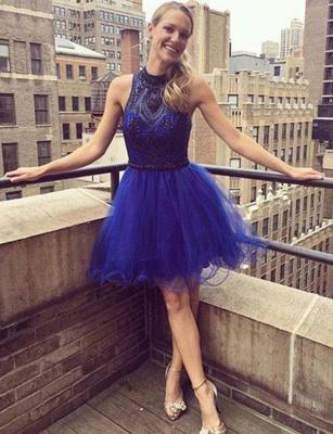 Modern A-Line Beading High Neck Tulle Sleeveless Short length Prom Dress UK UK_1