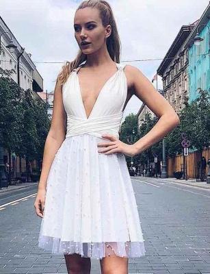 Glamourous A-Line Beads V-Neck Tulle Sleeveless Mini length Prom Dress UK UK_4