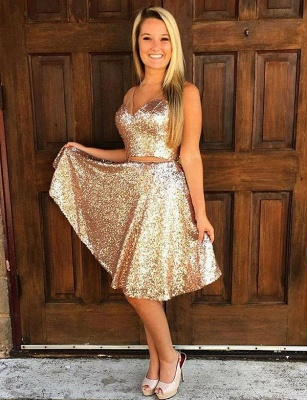 Crop Top Sleeveless A-Line Sequined V-Neck Straps Short length Prom Dress UK UK_1