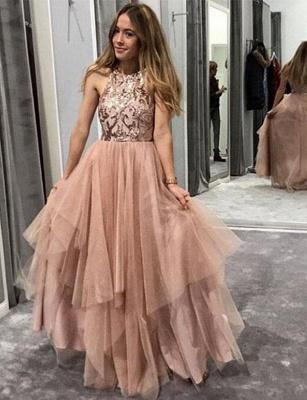 Modern Tulle A-Line Sequins Jewel Sleeveless Long Prom Dress UK UK_1