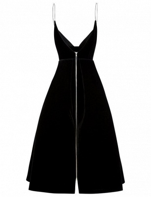 Unique A-Line Zipper Spaghetti Straps Tea-Length Homecoming Dress UK_4