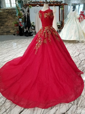 Beads Applique Round Neck Short Sleeves A-Line Court Train Prom Dress UK UK_5
