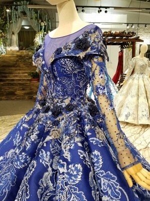 Sweep Train Long Sleeves Applique Ball Gown Long Prom Dress UK UK_6