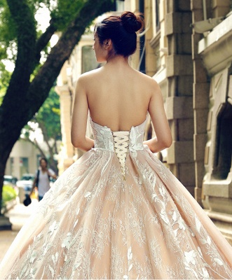 Applique Organza Strapless Ball Gown Sweep Train Prom Dress UK UK_6