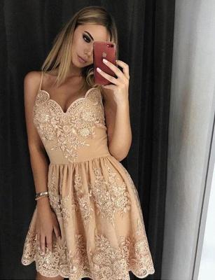Trendy Lace A-Line Spaghetti Straps Appliques Mini length Prom Dress UK UK_1