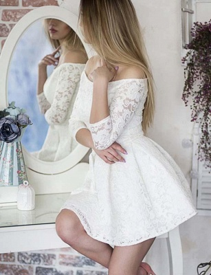 Gorgeous Long Sleeves A-Line Lace Off-the-Shoulder Mini Prom Dress UK UK_3