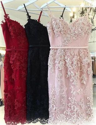 Trendy Column Appliques Spaghetti Straps Cute Sweetheart Prom Dress UK UK_3