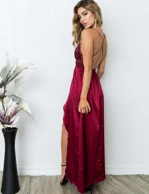 Elegant A-Line Spaghetti Straps V-Neck Sequins Burgundy Prom Dress UK UK_7