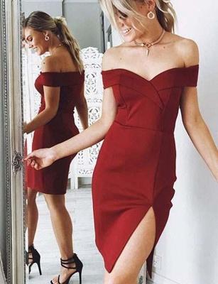 Hot Column Split Front Off-the-Shoulder Mini length Prom Dress UK UK_1