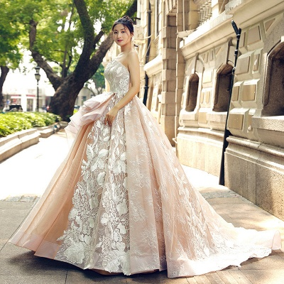 Applique Organza Strapless Ball Gown Sweep Train Prom Dress UK UK_4
