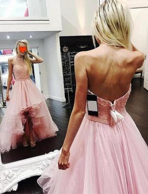 Modern Tulle A-Line Beading Halter asymmetric Prom Dress UK UK_1