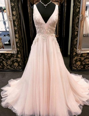 Luxury Appliques A-Line Tulle V-Neck Long Sleeveless Prom Dress UK UK_1
