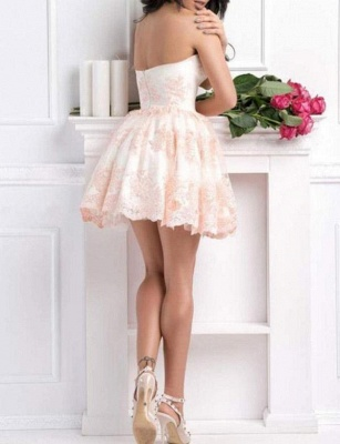 Sexy Appliques A-Line Lace Cute Sweetheart Mini length Homecoming Dress UK_4