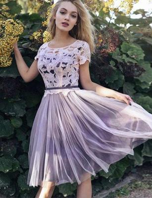 Fabulous A-Line Lace Scoop Tulle Short length Sleeves Short length Prom Dress UK UK_1