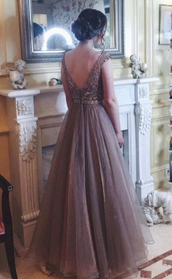 Chocolate Crystals A-Line Tulle Sweep Train Prom Dress UK_1