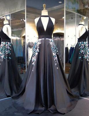 Gorgeous A-Line Appliques Halter V-Neck Long Evening Dress UK_1
