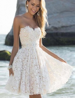 Stunning Cute Sweetheart A-Line Lace Flower Short Prom Homecoming Dress UK_1