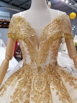 Sequins Spaghetti Straps Beads Sweep Train Ball Gown Prom Dress UK UK_6