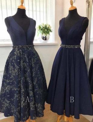 Trendy A-Line Beads V-Neck Sleeveless Sash Mini length Prom Dress UK UK_1