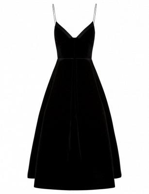 Unique A-Line Zipper Spaghetti Straps Tea-Length Homecoming Dress UK_1
