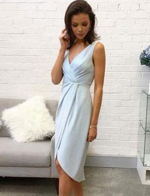 Trendy Sleeveless A-Line V-Neck Hi-lo Homecoming Dress UK_1