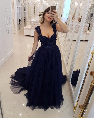 Sexy Straps Tulle A-Line Sleeveless Sequined Prom Dress UK UK_1